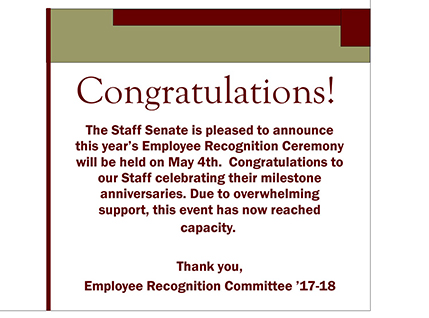 Staff Senate Employee Recognition