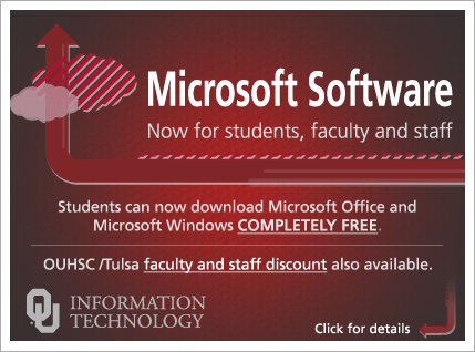Microsoft software. Free for students. Discounted for faculty and staff.